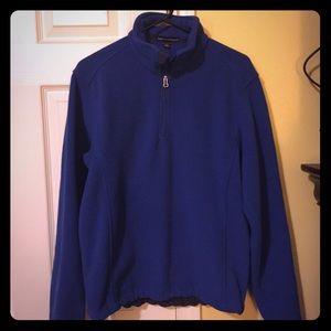 Unisex blue fleece half zip pull over!